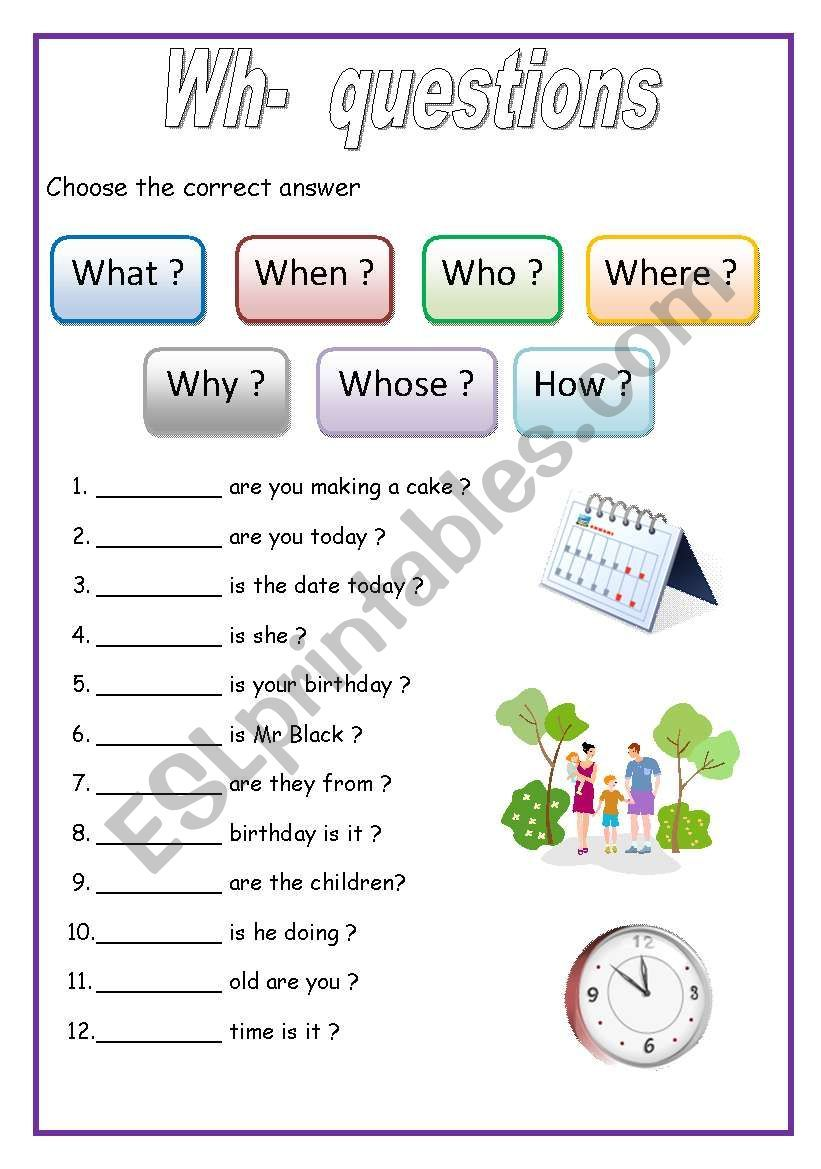 Fill In Exercise For Elementary Level Students Complete