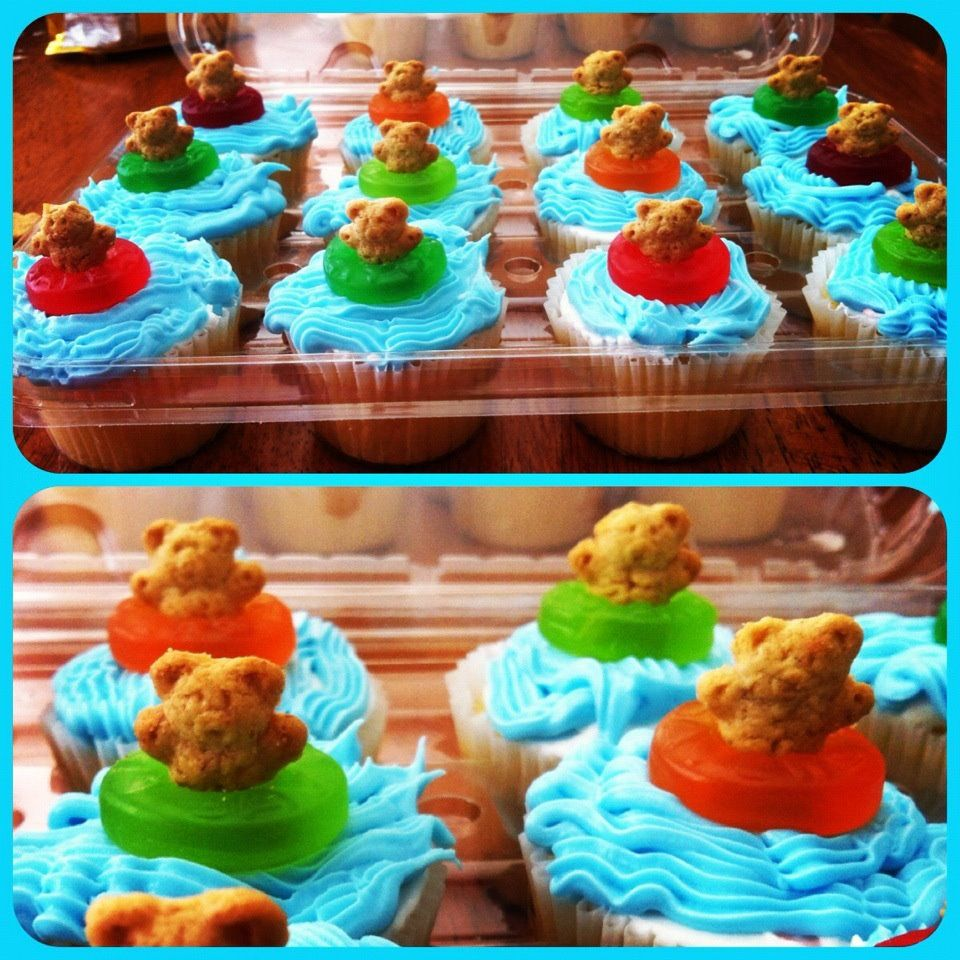 Swimmer Cupcakes I Made (gummy Lifesavers And Teddy Grahams)