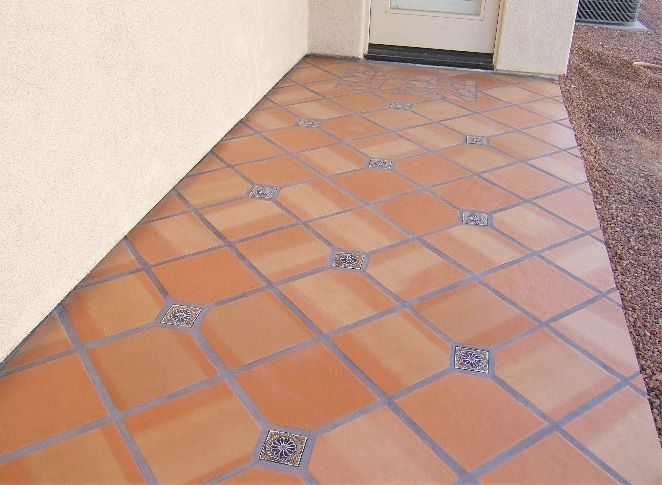 saltillo tile with inset patio tiles