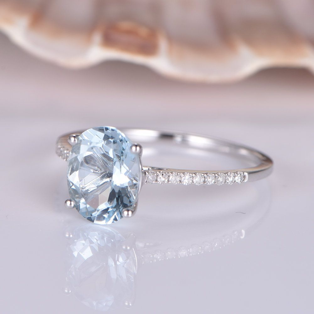 Aquamarine wedding ring white gold diamond band 7x9mm Oval Cut VS blue aquamarine 14k solitaire ring bridal promise ring