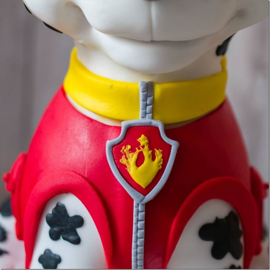 Never Fear, This Awesome Marshall Cake Is Here! - Marshall, Paw patrol, Marshall paw patrol, Cruella de vil, Paw, Awesome - This awesome cake of Marshall from PAW Patrol was made by AgriDulce Cakes  This is an absolutely wonderful sculpted cake  Marshall is a Dalmatian  He wears a fireman's helmet  The logo on the fire hat is a paw print  Marshall is wearing a vest which is red with yellow trim