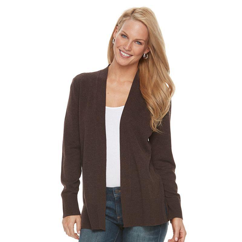 Women's Croft & Barrow® Heathered Open-Front Cardigan, Size: XXL ...