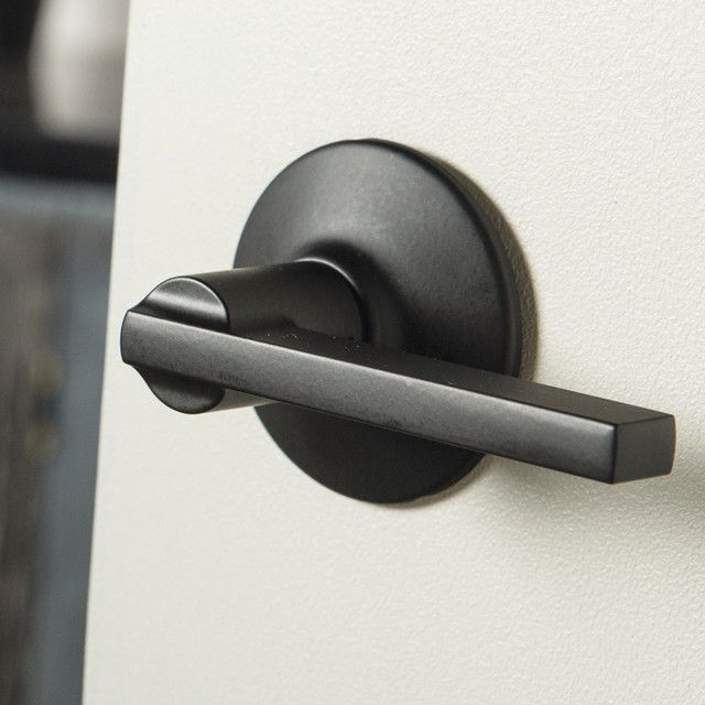 The Schlage Latitude Matte Black Passage Lever Is Perfect For Use