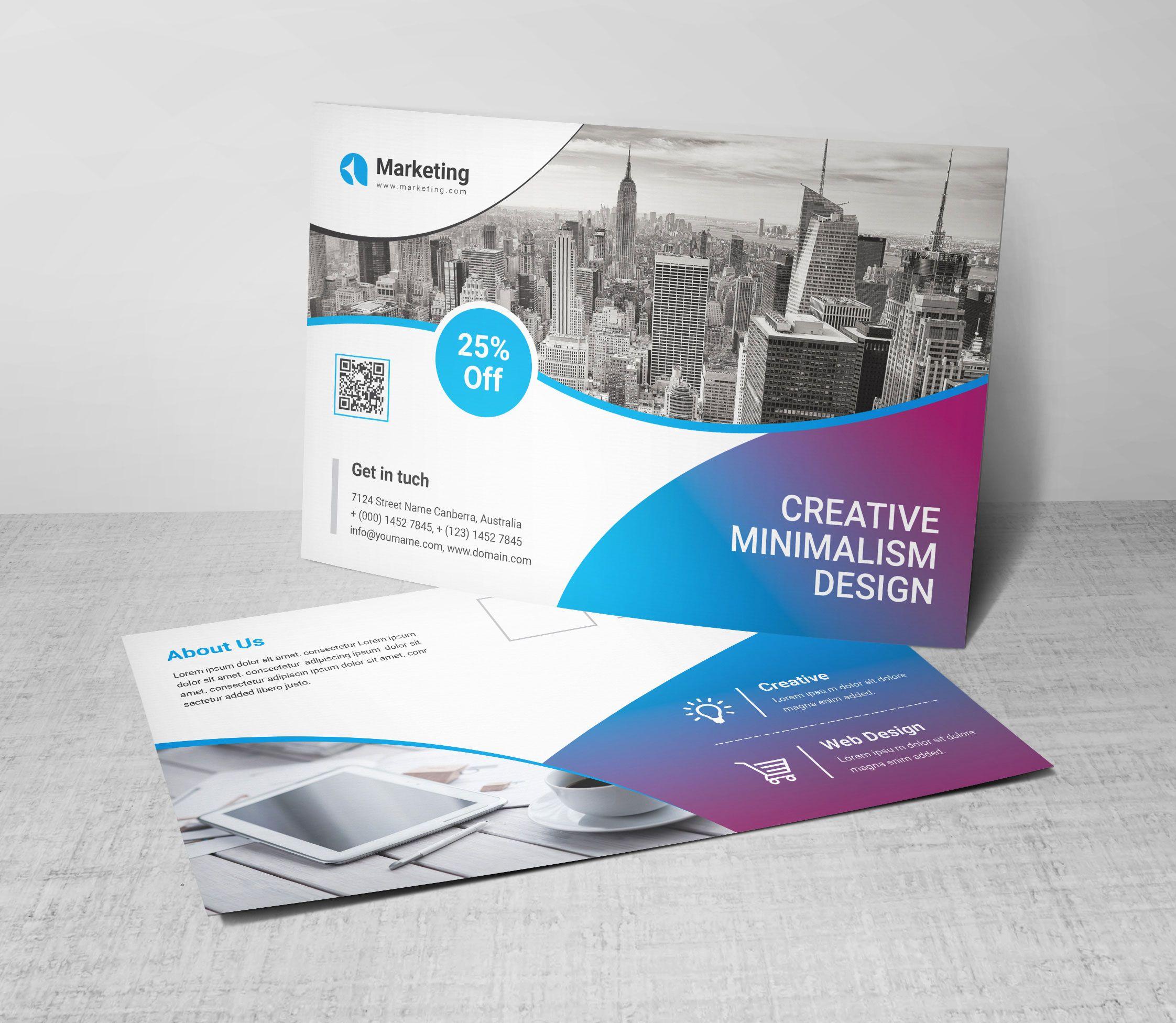 Psd Versatile Postcards In 2020 Postcard Template Postcard