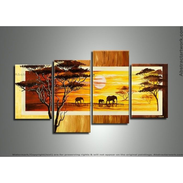 African Forest Art with Elephants 257 - 56 x 30in