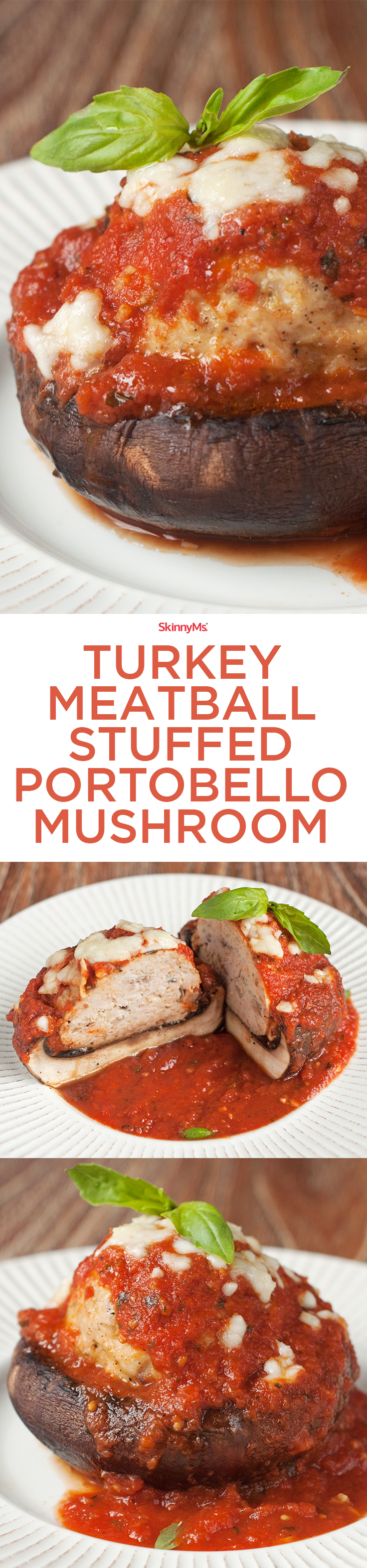 Turkey Meatball Stuffed Portobello Mushroom