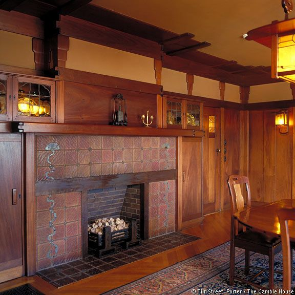 Dining Room Fireplace Of The Arts And Crafts Gamble House, By Greene And  Greens, Pasadena, CA. Craftsman Interior ... Part 91