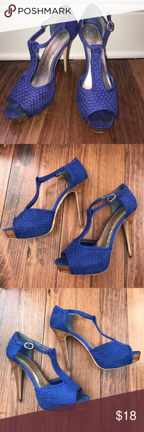 Bakers T-strap Heels. Size 8.5 Bakers Blue Suede Leather t-strap heels. Size 8.5 Bakers Shoes Heels