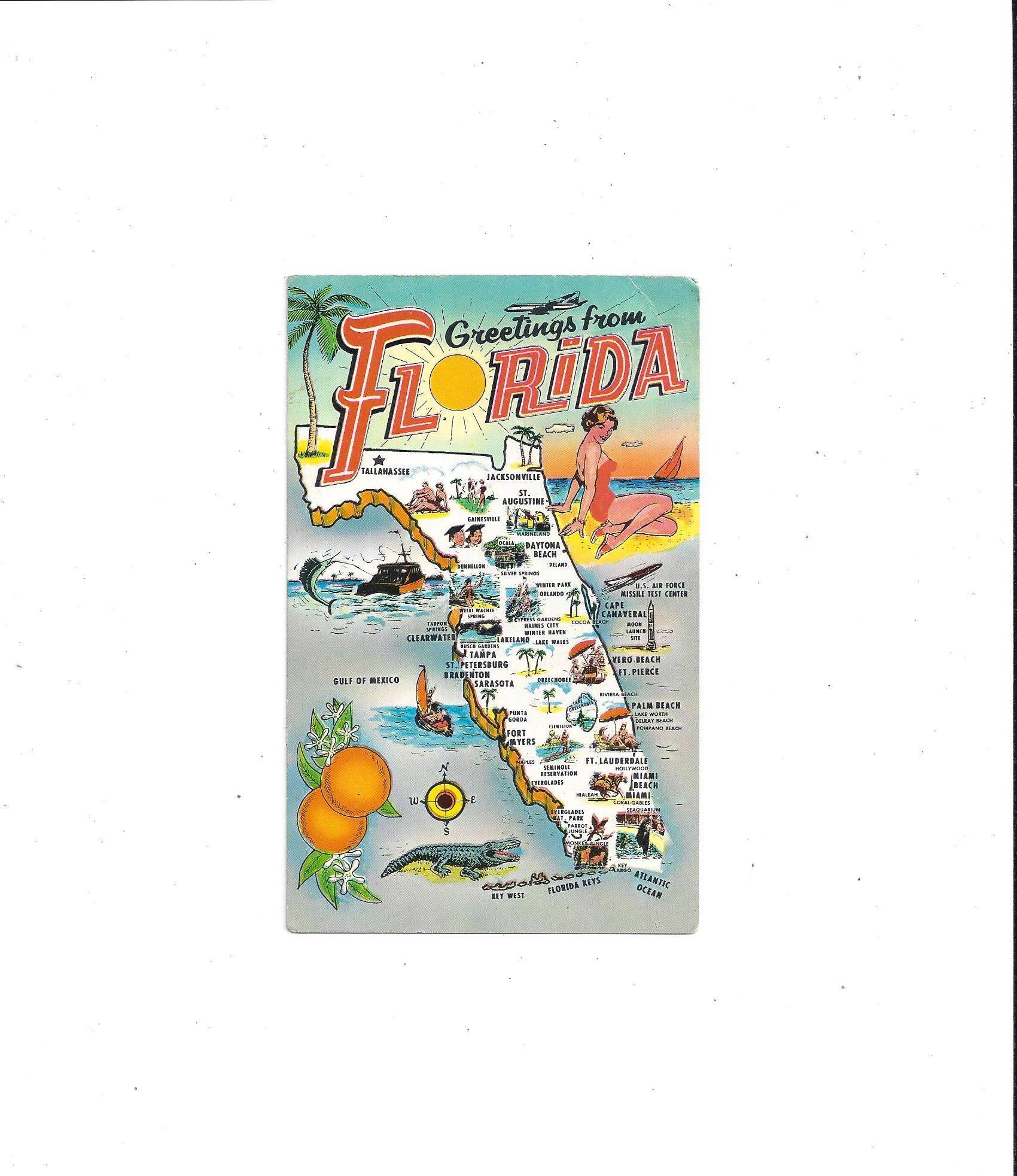 1960s Florida Color Map Postcard Pre Disney World Unposted Etsy Colorful Postcards Postcard Vintage Postcard