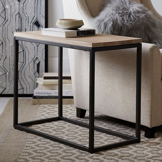 Box Frame Narrow Side Table Wood Antique Bronze Side Table