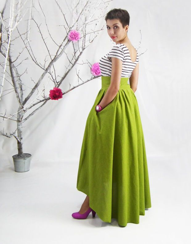 Women's Casual Fashion Vintage High Waist Pleated Green Warm ...