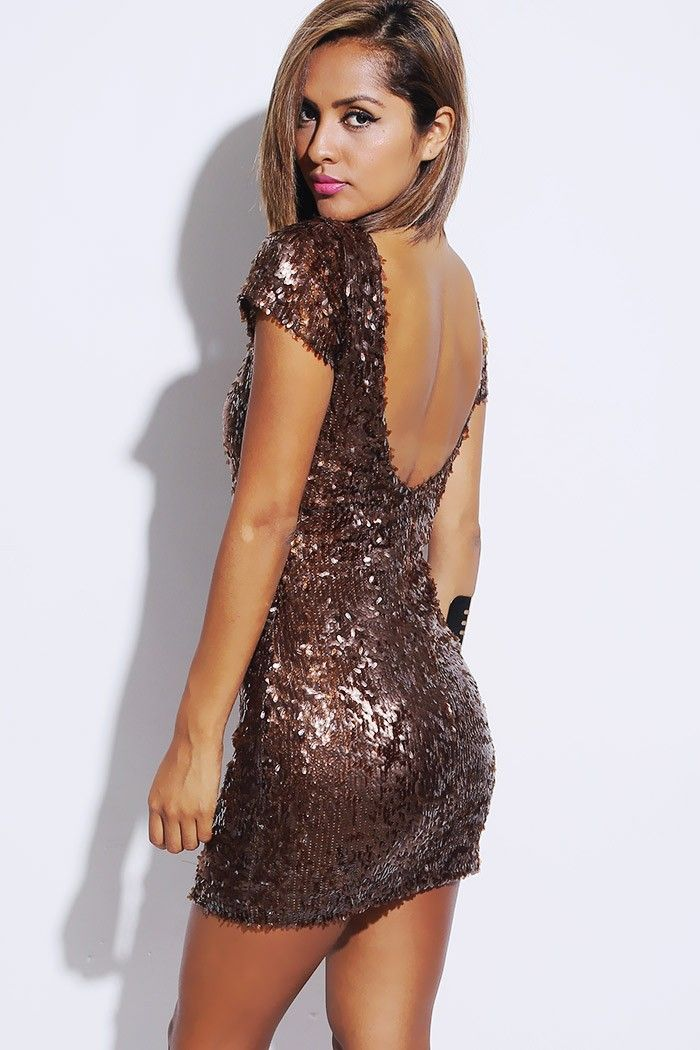 homecoming? mocha sequined short sleeve backless cocktail party shift dress-$49.00