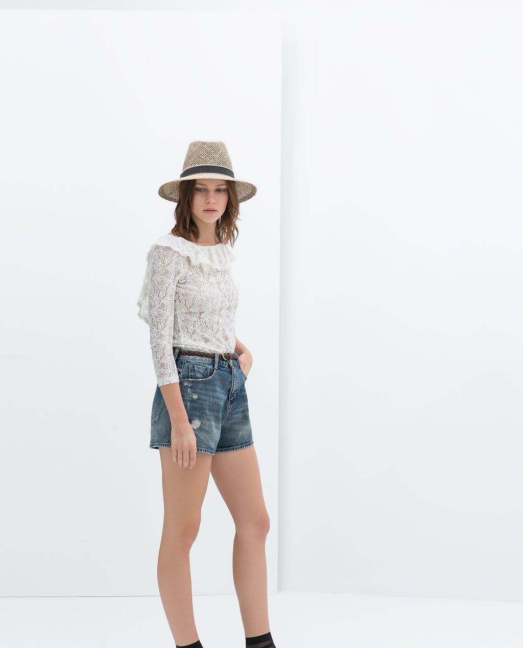 Zara Trf Top Encaje Zara Camisas Encaje