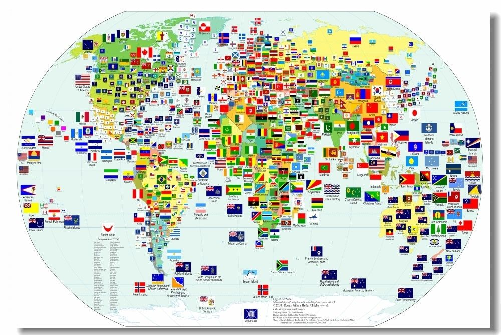 Custom Canvas Wall Decor World Map Poster Flags Of The World