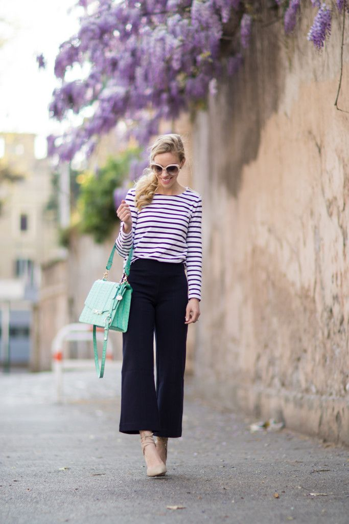 Ann Taylor navy striped tee with high waist navy culottes, J Crew ...