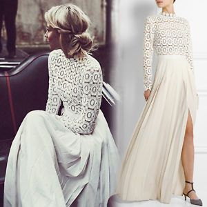 c16640cfd018 AUTHENTIC-Self-Portrait-White-Pleated-CROCHET-FLORAL-Maxi-Dress-Gown -S-UK8-NWT