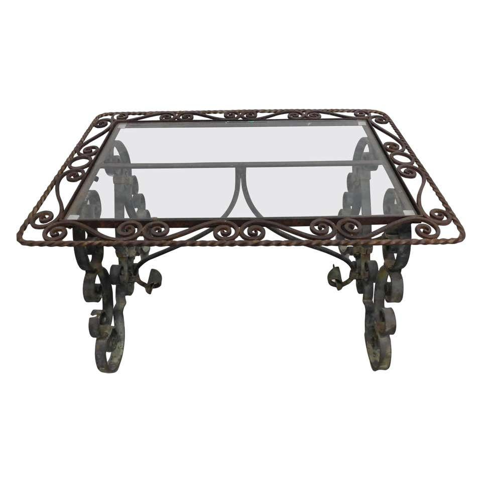 Provincial Glass Top And Verde Green Wrought Iron Cocktail Table France 1920 Wrought Iron Glass Top Cocktail Tables [ 960 x 960 Pixel ]