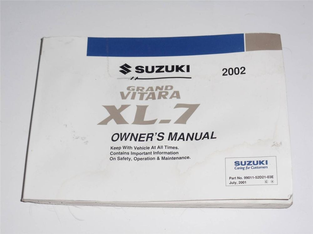 2002 Suzuki Grand Vitara XL-7 Owners Manual Book Owners Manuals - operation manual