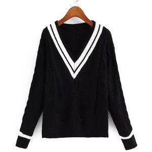 V Neck Striped Cable Knit Black Sweater