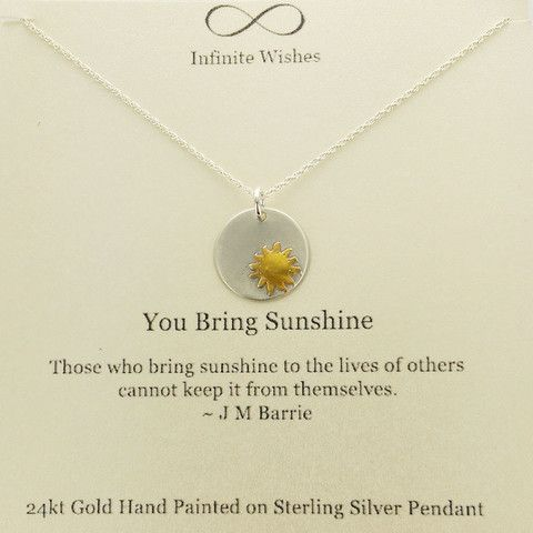 you bring sunshine necklace on quote card necklace quotes