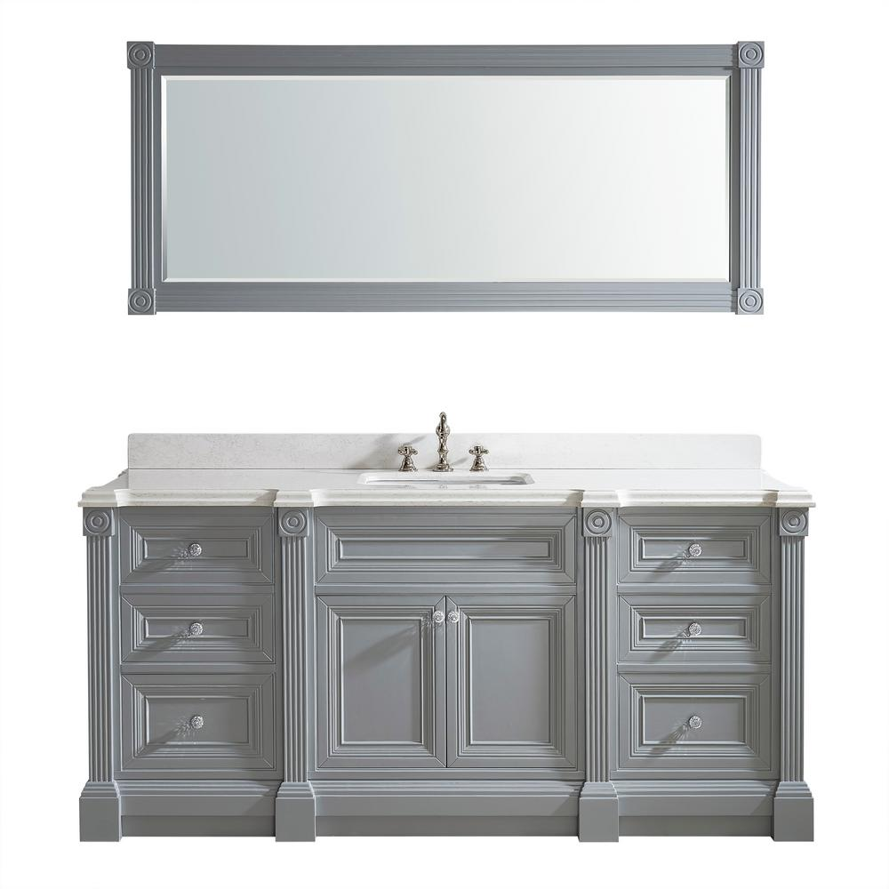 Studio Bathe Avenue 72 In W X 23 In D Vanity In Oxford Gray With Engineered Solid Vanity Top In White With White Basin And Mirror Avenue 72 Oxford Ssc The H [ 1000 x 1000 Pixel ]
