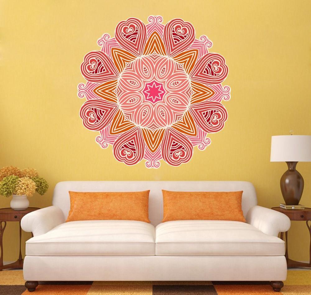 Cik1411 Full Color Wall Decal Beautiful Pink Mandala Yoga Bedroom Living Room Wall Colors Wall Decals Yoga Bedroom