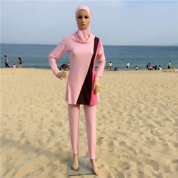 16f570d07df 5XL-S Full Coverage Modest Muslim Swimwear Islamic Swimsuit For Women Arab Beach  Wear Muslim Hijab Swimsuits Plus Size