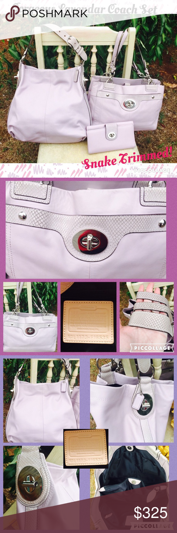 Coach Lavender Purple Purse Wallet  Snakeskin Set The largest purse is in excellent condition.  I do not see anything jumping out upon inspection, super clean insides.  The other bag is in good condition.  The outside has some very minimal wear on the bottom, super clean insides.  The hang tag is missing on this one.  Both bags have good handles.  Light scratching on the turnlocks for both.  The wallet is in excellent condition.  It has a small pen mark underneath the flap.    Please also…