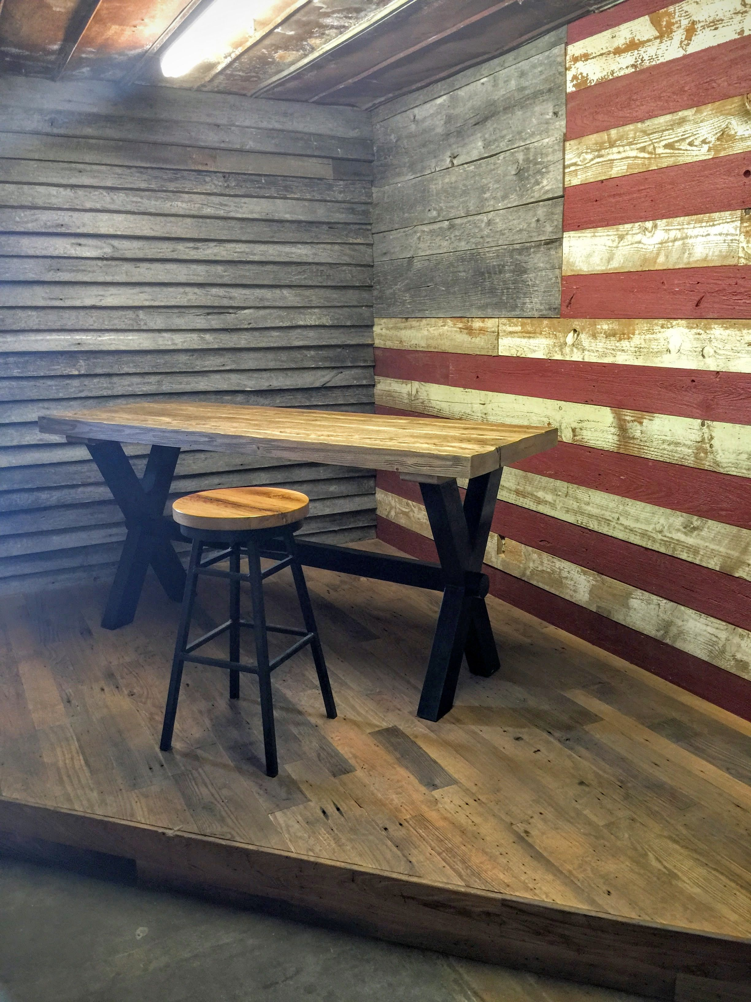 Outdoor garage decorations  Love how beautiful the American flag is using reclaimed barn wood