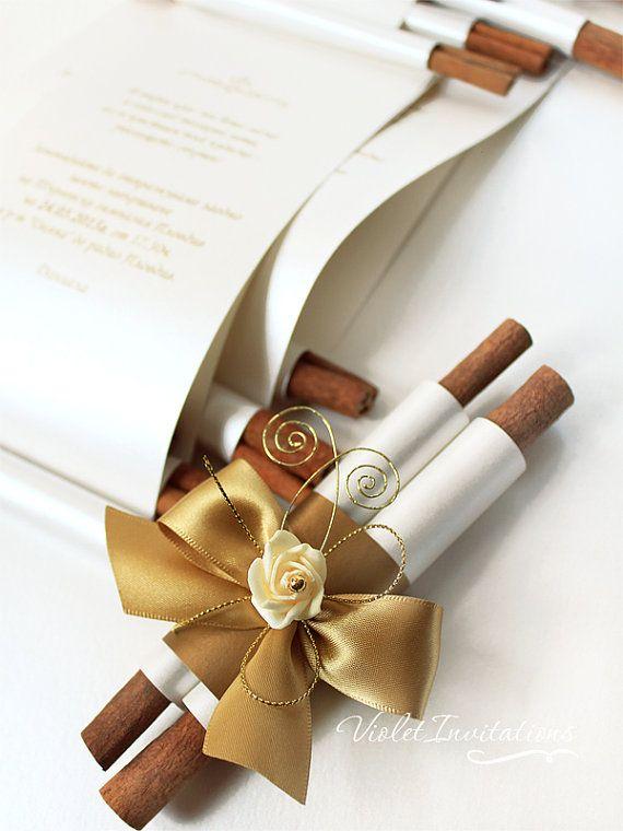 10 Handmade Gold Ivory Rose Scroll Wedding Invitations Scroll Wedding Invitations Handmade Invitations Wedding Scroll