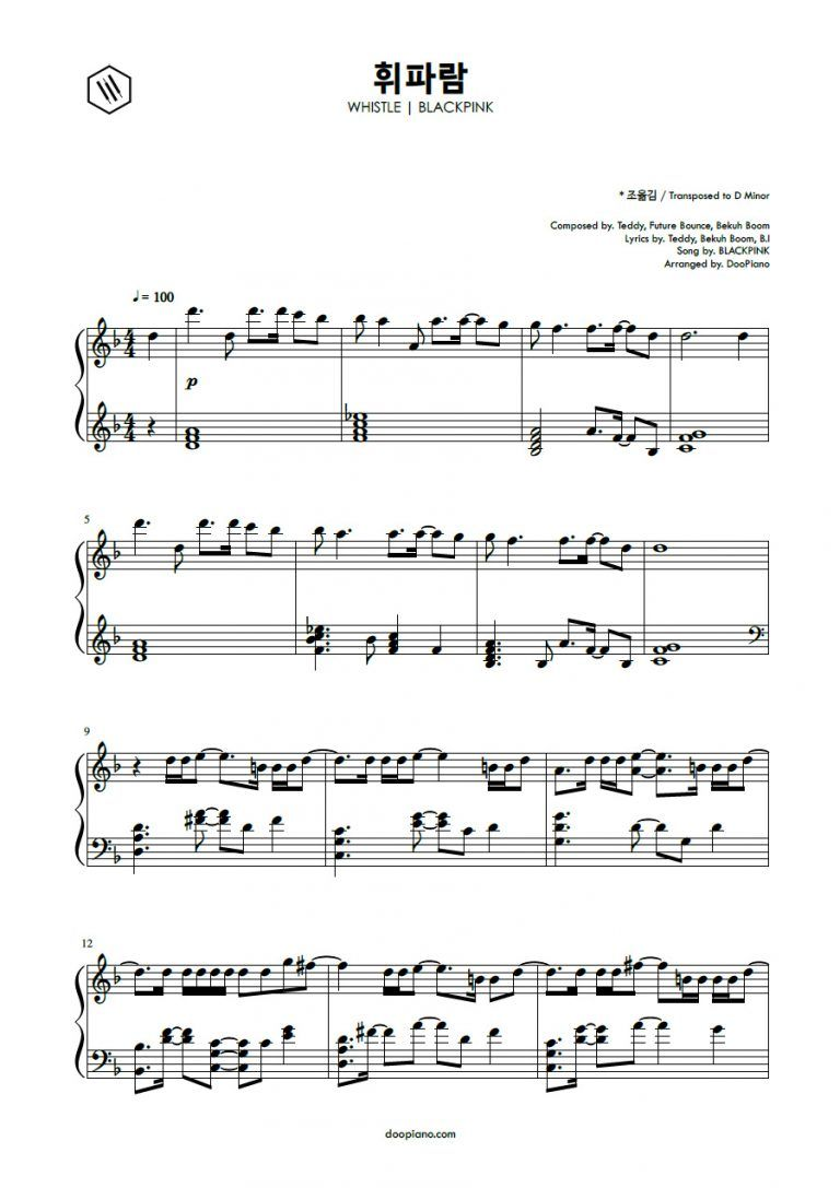 Blackpink Whistle Learn Piano Notes Flute Sheet Music Sheet