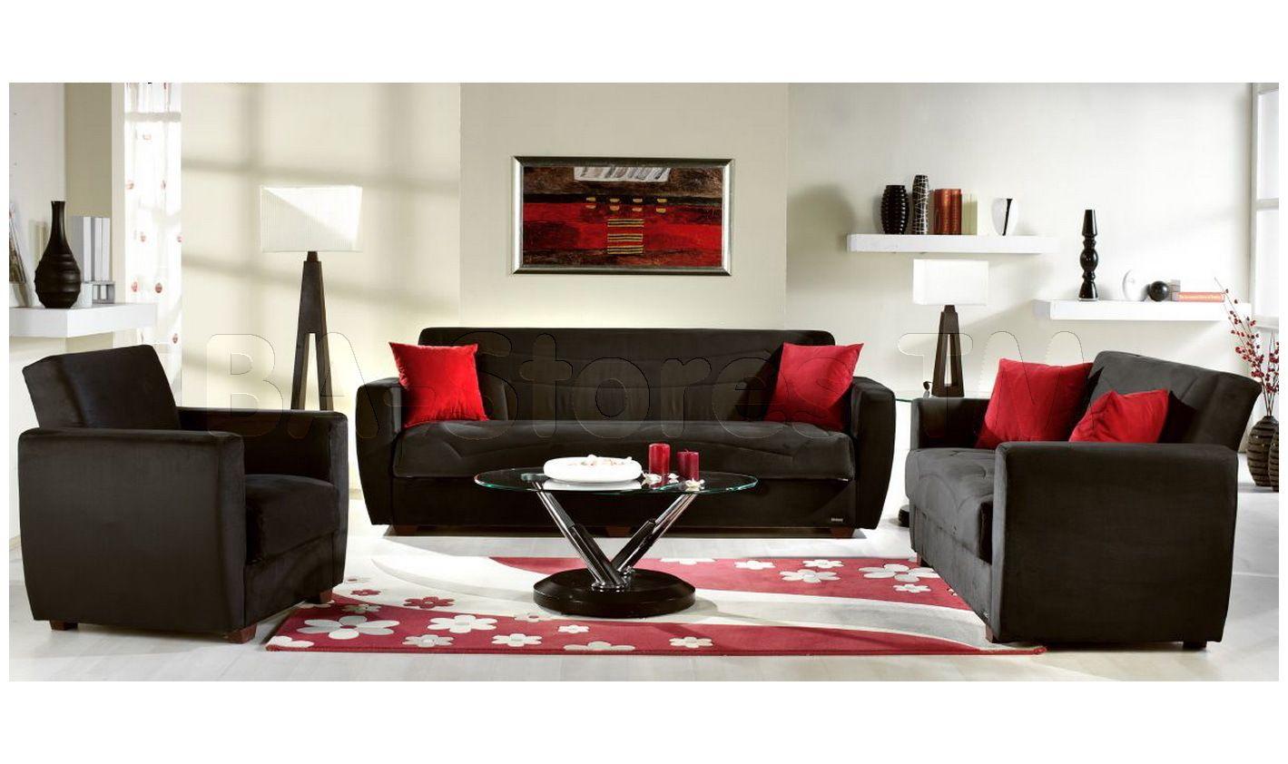 Miami Rainbow Black 2 PC Living Room Set (Sofa and Loveseat ...