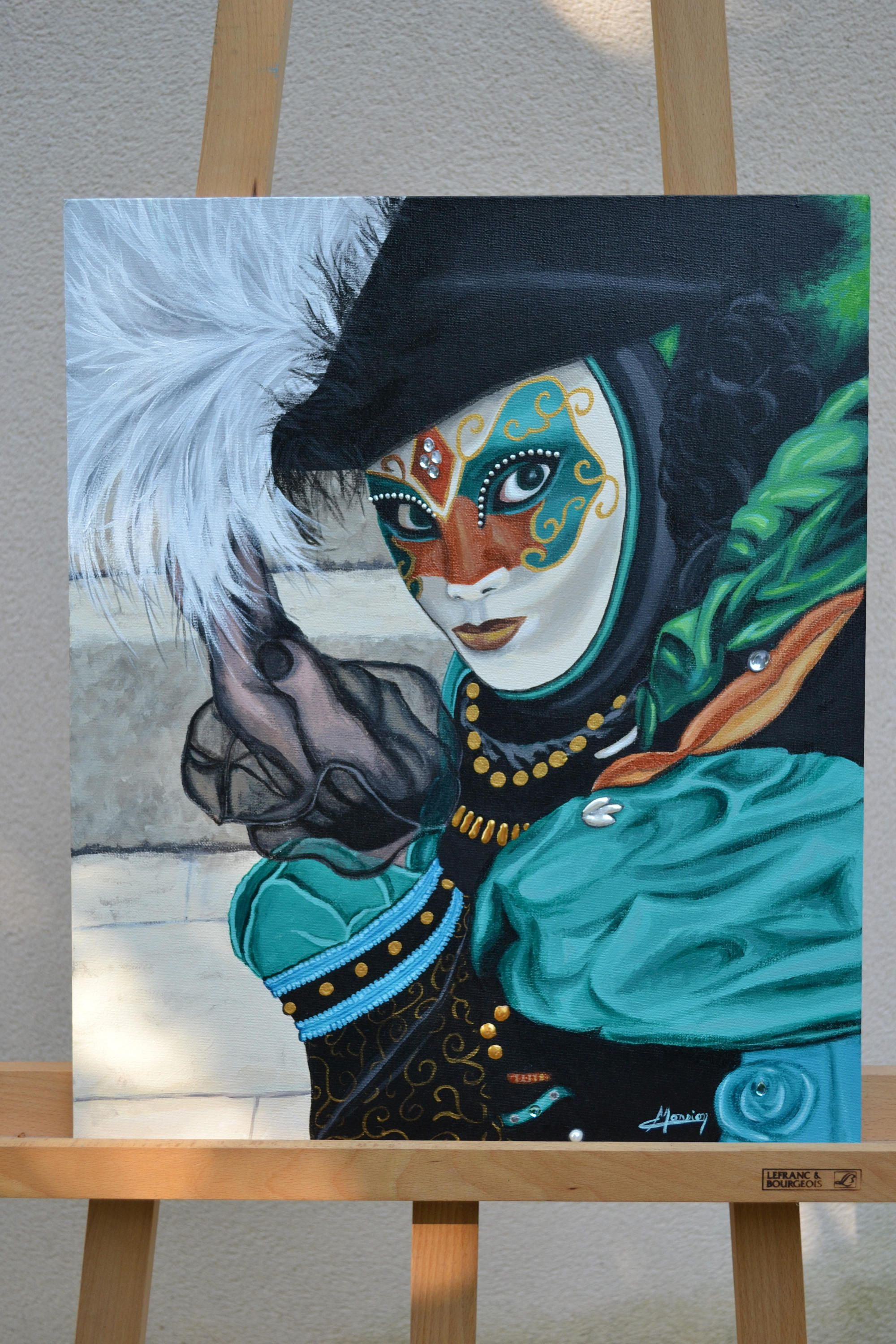 Acrylic Painting Of Venice Carnival Mask Green White Feather