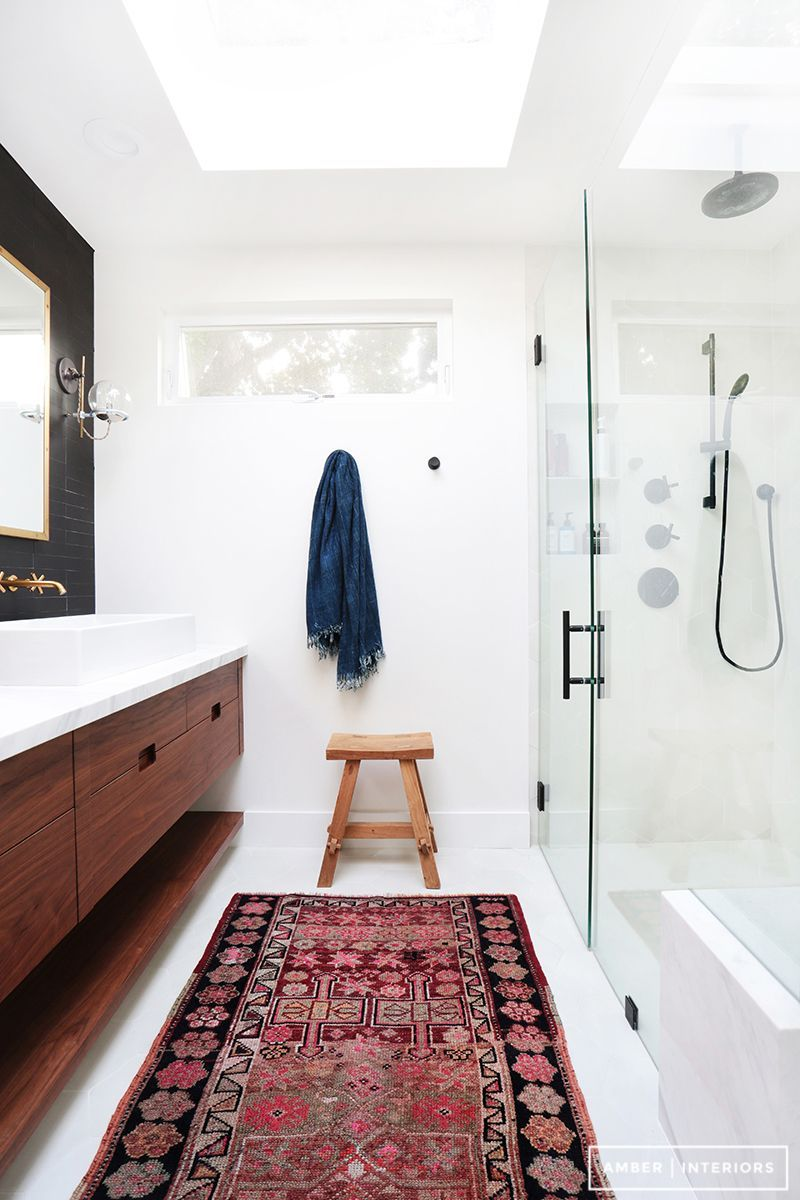 Modern Bathroom Rugs Home Tour A Hip Couple S Fresh California Bungalow In 2019