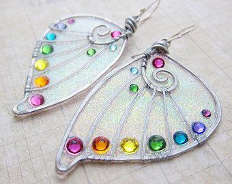 Sihaya Designs Faery Wing Earrings - Tropical Rainbow Glitter Wings- Fairy Wing Jewelry