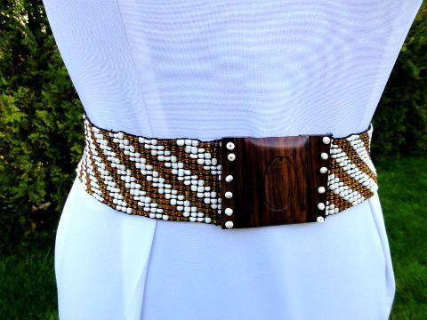 Bialo Zloty Pasek Na Szerokiej Gumie Na Klamrze 4203954300 Oficjalne Archiwum Allegro Fashion Allegro Accessories