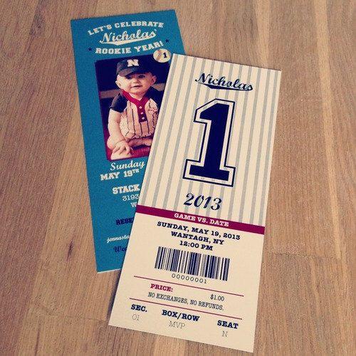 Baseball Ticket First Birthday Invitation Yankees by simplegd