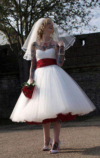 1950s Wedding DressTea Length DressRockabilly DressStrapless DressVintage DressWS037