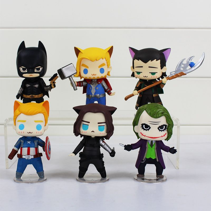 $55.99 (Buy here: http://appdeal.ru/5s3l ) 6Pcs/Set Superheroes Avengers Thor Captain America Loki The Dark Knight Winter Soldier PVC Figure Toys Q Cosplay Figures 8cm for just $55.99