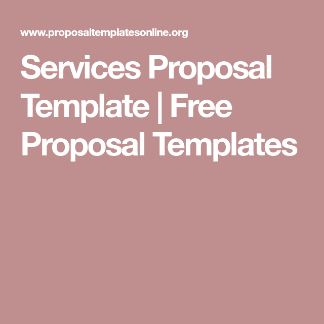 Services Proposal Template  Free Proposal Templates  Proposal