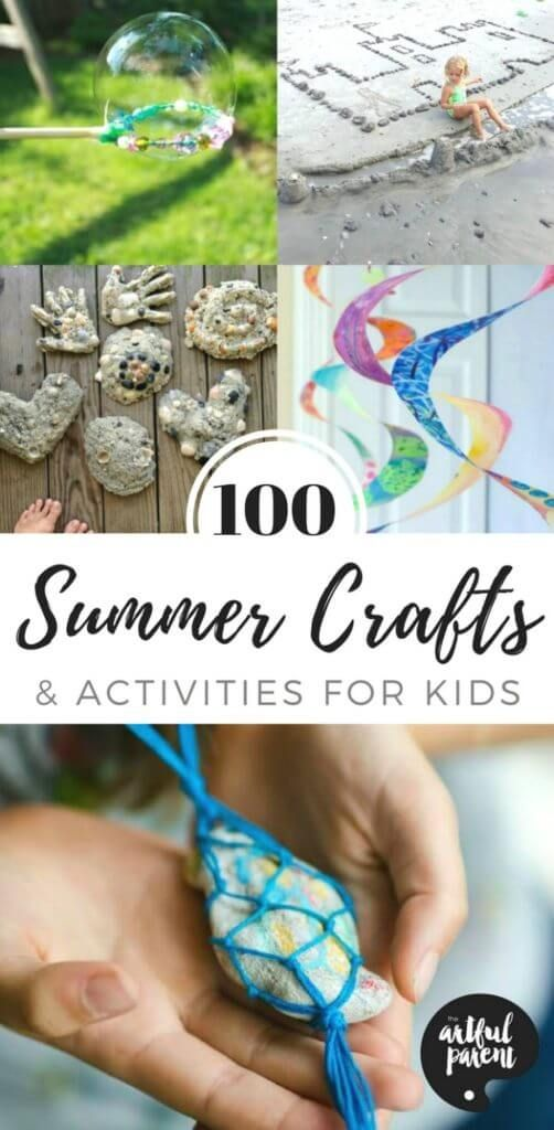 Here are 100 fun summer crafts and activities to keep the kids engaged all summer long! Includes summer craft ideas, art activities, fun science and more. #craftsforkids #kidsactivities #scienceforkids #summerfun #kids #kidscraft #parenting via @TheArtfulParent