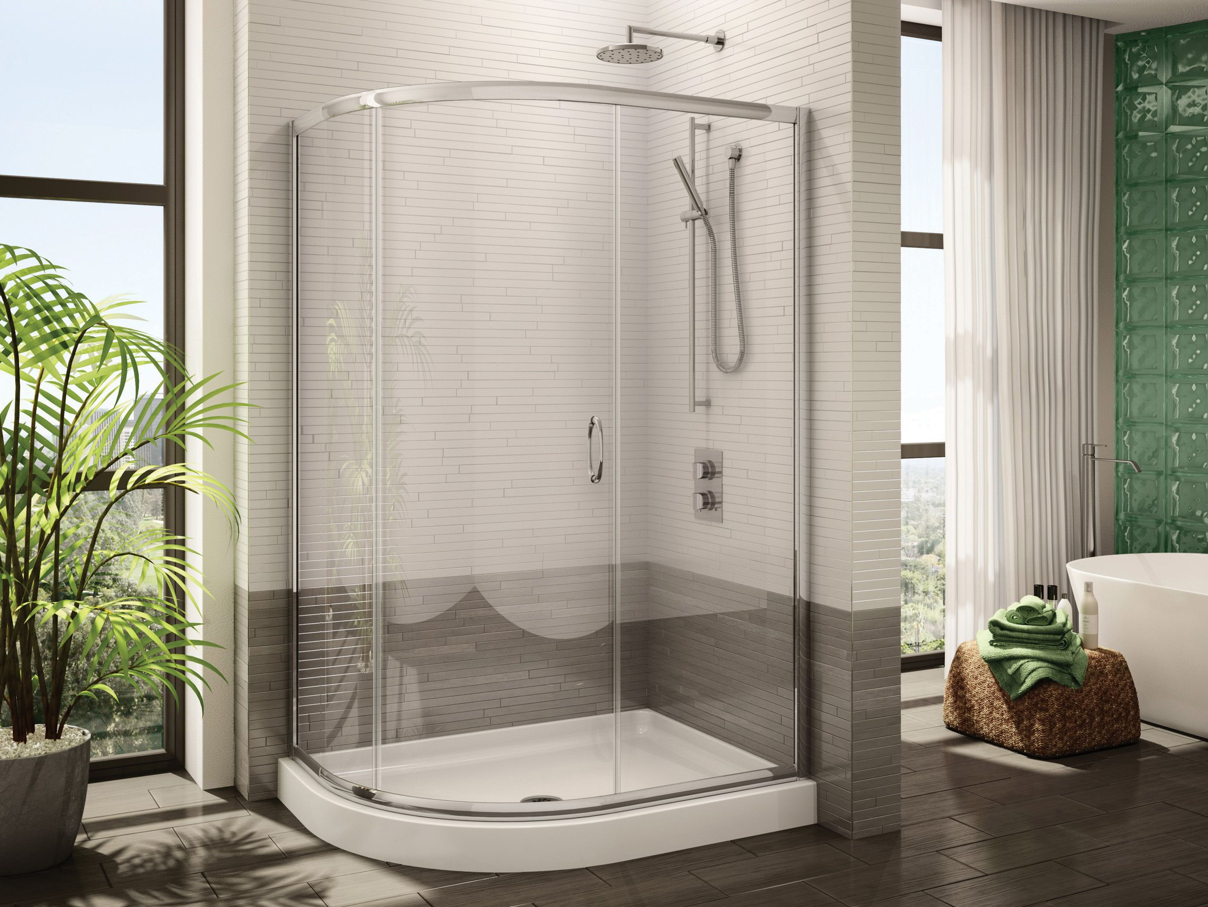 Fleurcou0027s Half Round Three Frameless Curved Glass Sliding Shower Door /  Signature Collection