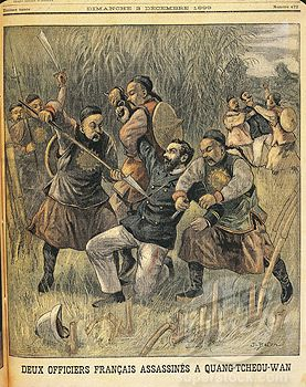 Murder of a foreigner by the Boxers during the Boxer Rebellion, 1898-1900.