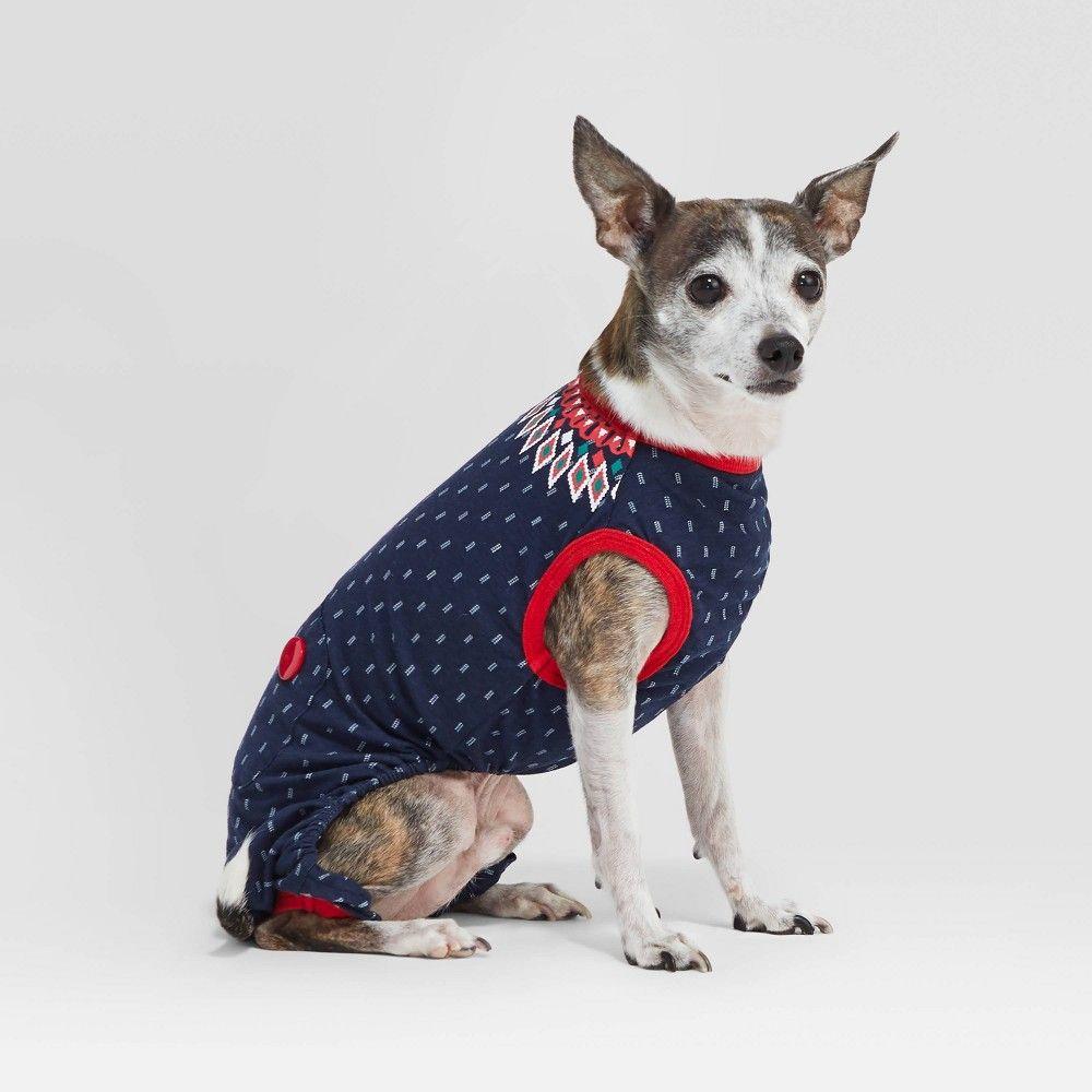 Holiday Fairisle Pet Pajamas Wondershop Navy Xl Blue Cat Dog