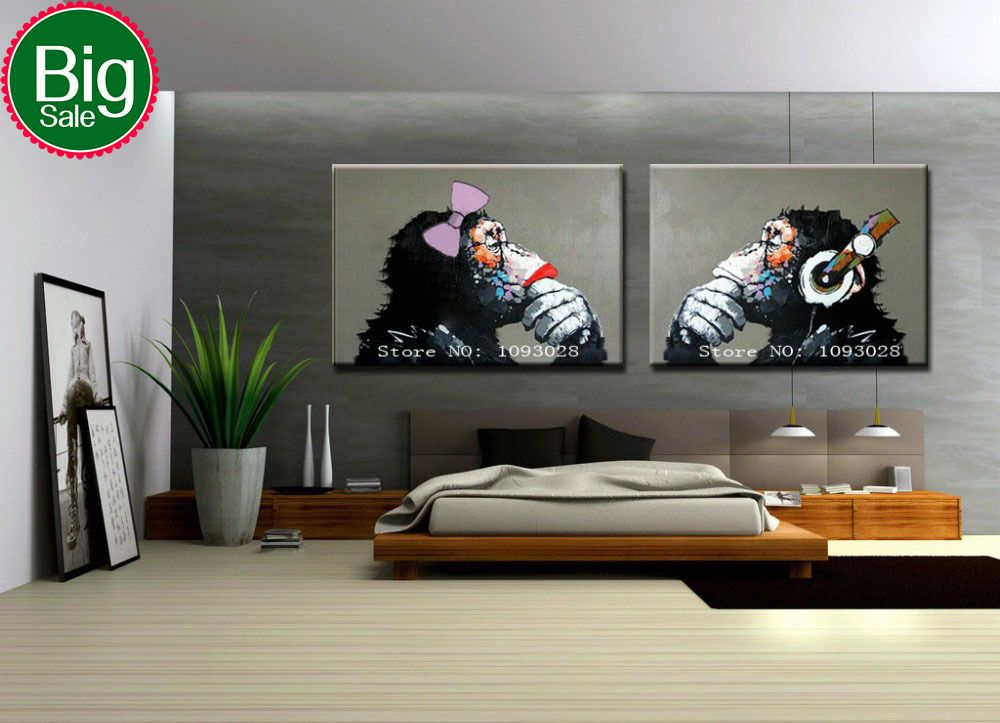 Gorilla Handpainted Modern Decoration Oil Painting Wall Art Paintings Picture Paiting Canvas Paints Home Decor