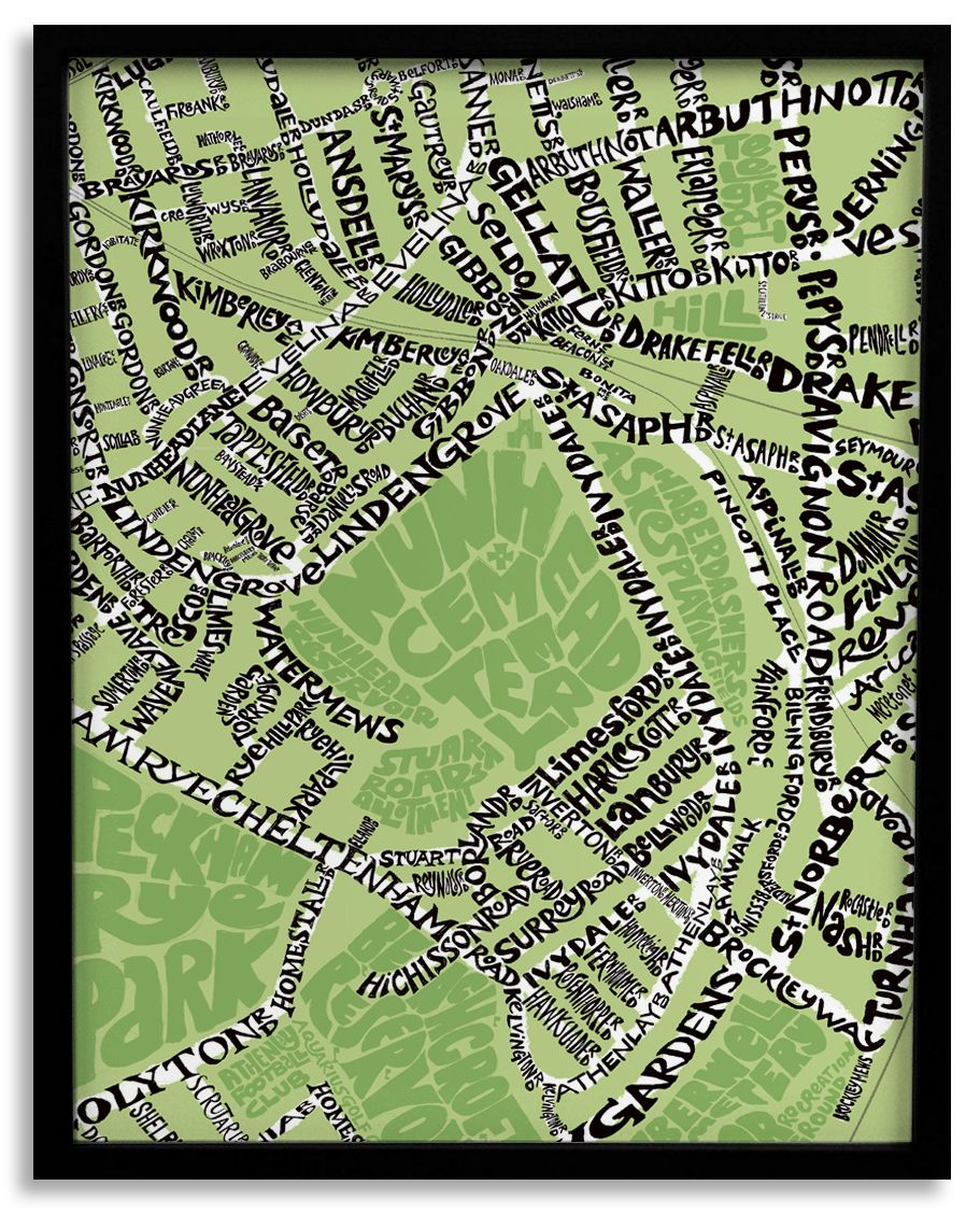 Map Of South East London.Love Nunhead This Hand Lettered Typographic Map In South East