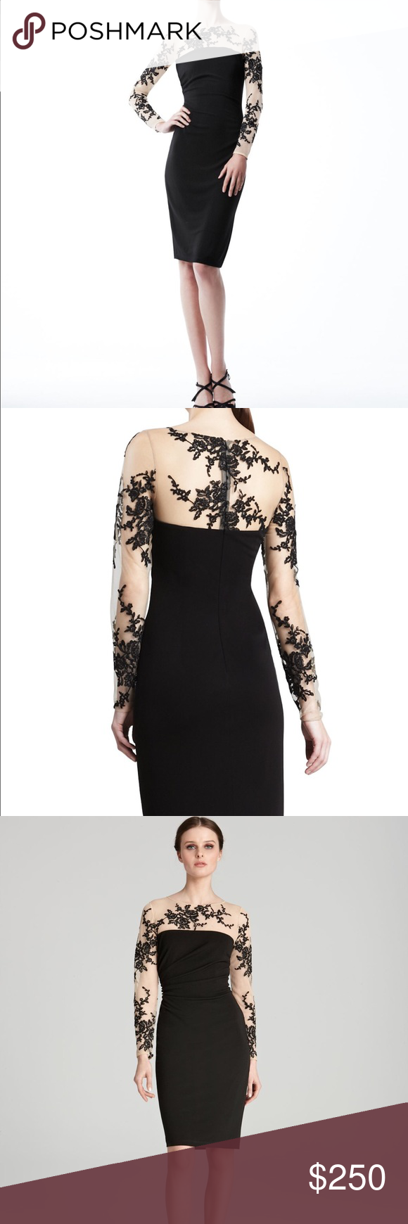 David meister black dress embroidered lace size david meister