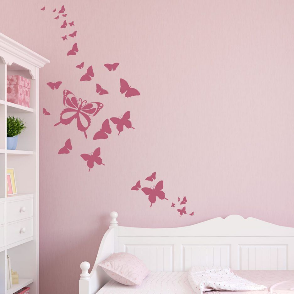 minimalist butterfly wall sticker in the pink wall with beautiful