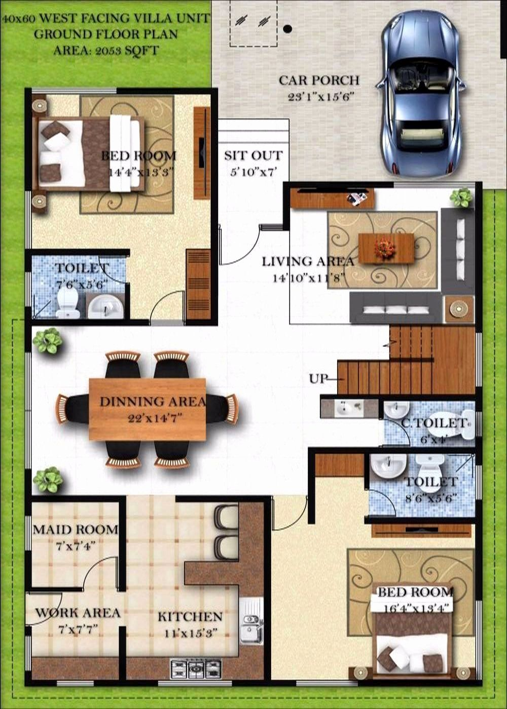 50 X 60 House Plans New 30 40 Duplex House Plans With Car Parking East Facing 60 In 2020 Duplex House Plans Small House Plans New House Plans