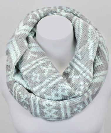 Leto Collection Mint & Gray Fair Isle Infinity Scarf | Fair isles ...